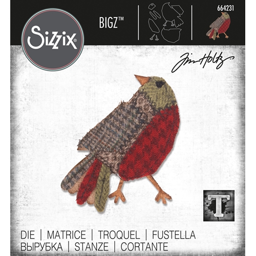 Tim Holtz Sizzix PATCHWORK BIRD Bigz Die 664231 Preview Image