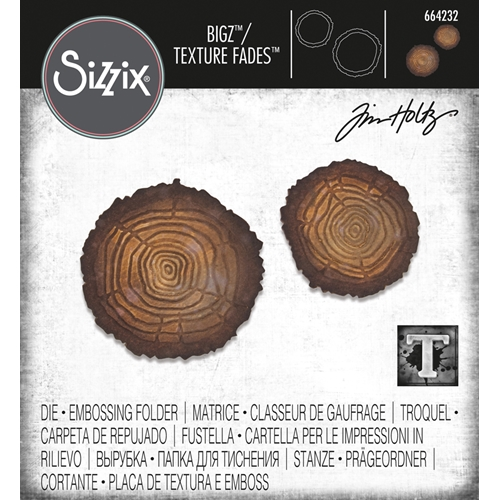 Tim Holtz Sizzix TREE RINGS Bigz Die With Texture Fades 664232 Preview Image