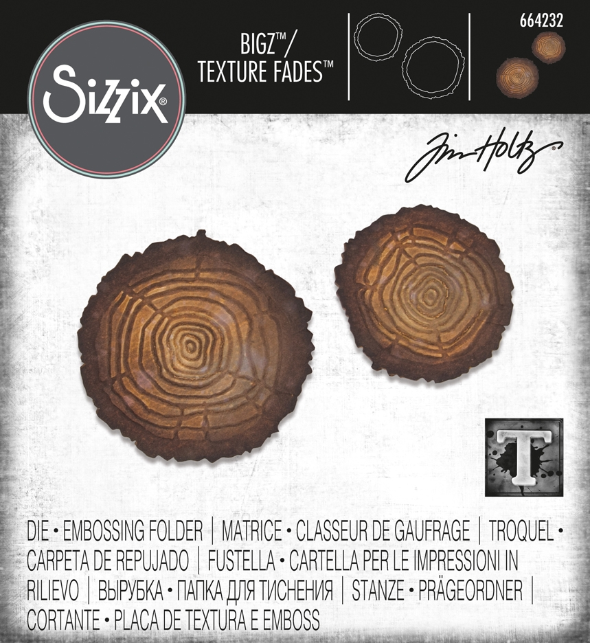 Tim Holtz Sizzix TREE RINGS Bigz Die With Texture Fades 664232 zoom image