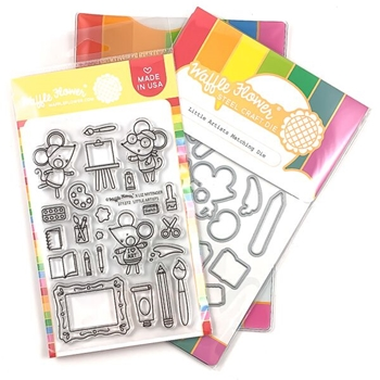 Waffle Flower LITTLE ARTIST Clear Stamp and Die Combo WFC272