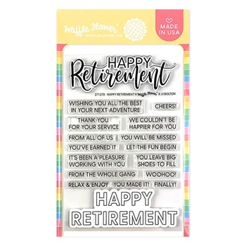 Waffle Flower HAPPY RETIREMENT Clear Stamps 271270