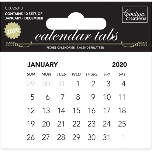 Couture Creations 2020 CALENDAR TABS 10 Pack co726810 Preview Image
