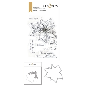 Altenew MODERN POINSETTIA Clear Stamp, Die and Masked Stencil Bundle ALT3496