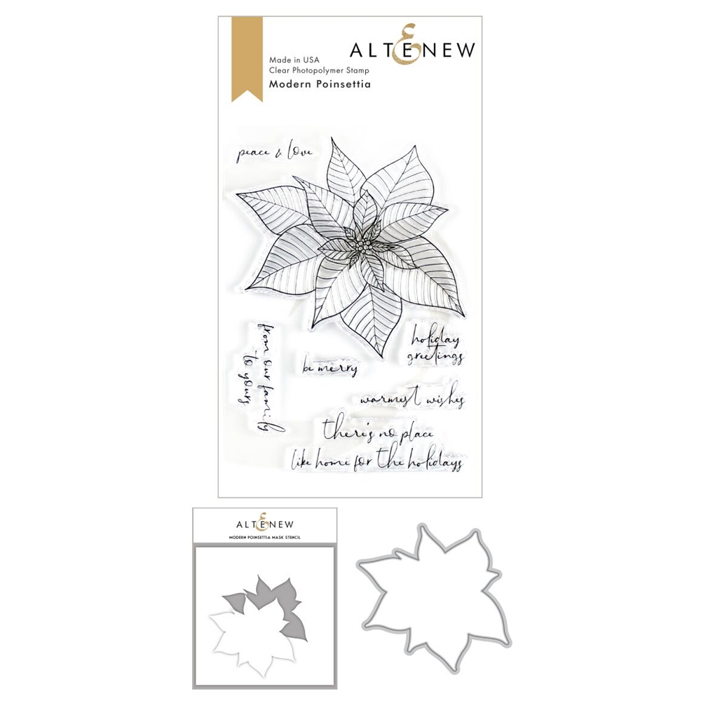 Altenew MODERN POINSETTIA Clear Stamp, Die and Masked Stencil Bundle ALT3496 zoom image