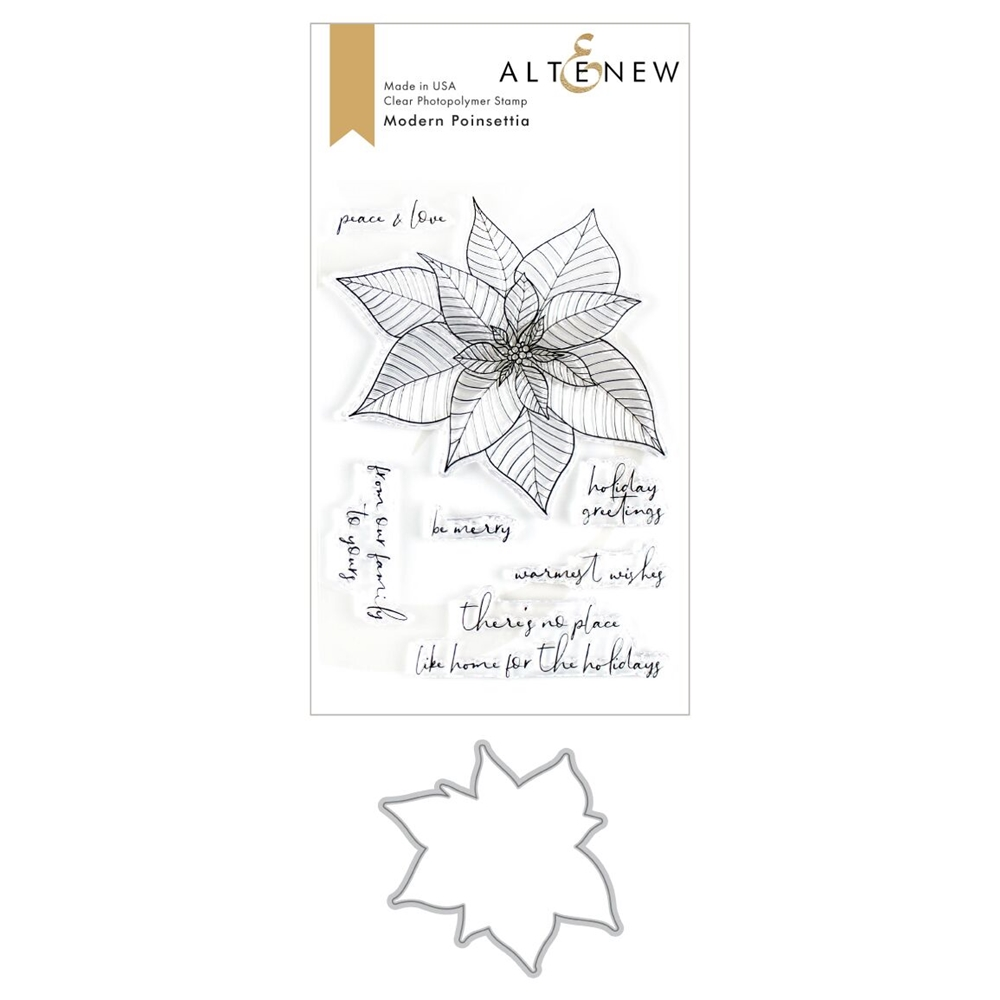 Altenew MODERN POINSETTIA Clear Stamp and Die Bundle ALT3495 zoom image