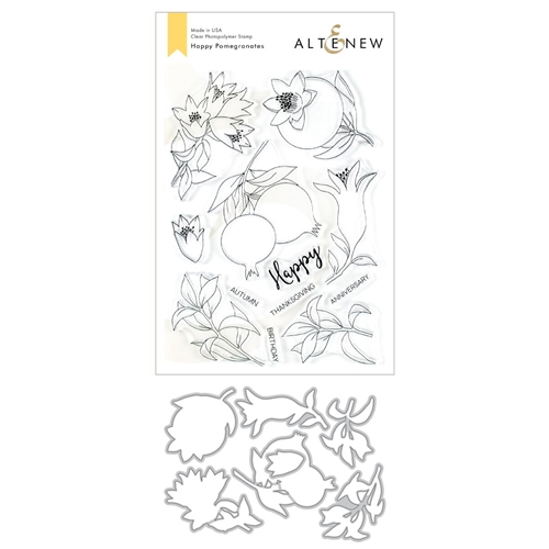 Altenew HAPPY POMEGRANATES Clear Stamp and Die Bundle ALT3488 Preview Image
