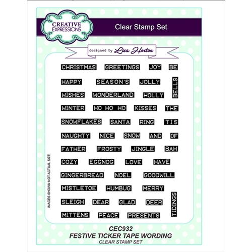 Creative Expressions FESTIVE TICKER TAPE WORDING Clear Stamps cec932 Preview Image