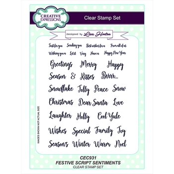 Creative Expressions FESTIVE SCRIPT SENTIMENTS Clear Stamps cec931