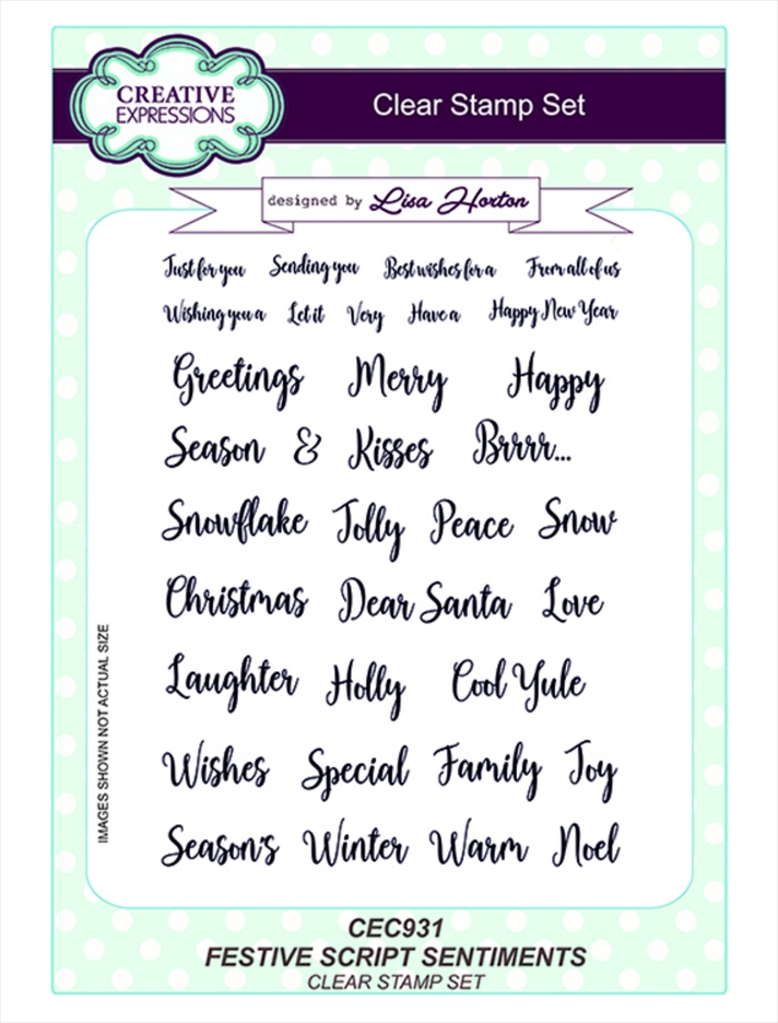 Creative Expressions FESTIVE SCRIPT SENTIMENTS Clear Stamps cec931 zoom image