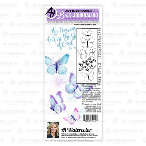Art Impressions Watercolor BUTTERFLY Bible Journaling Cushion Cling Stamps 5200 Preview Image