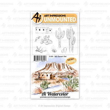 Art Impressions Watercolor DESERT Cushion Cling Stamps 5196