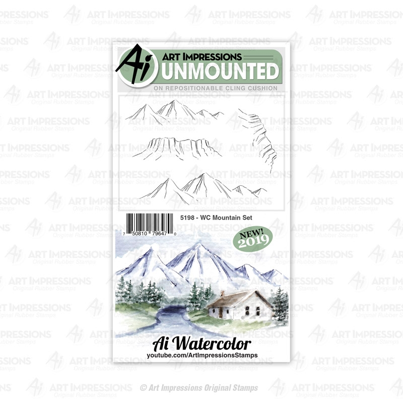 Art Impressions Watercolor MOUNTAIN Cling Cushion Stamps 5198 zoom image