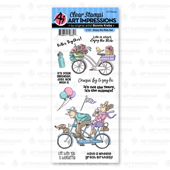 Art Impressions ENJOY THE RIDE Clear Stamps 5186 Work and Play