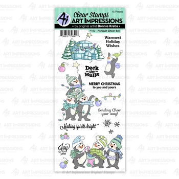 Art Impressions PENGUIN CHEER Clear Stamps 5192