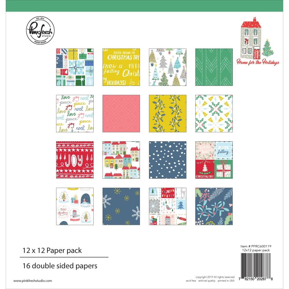 Pinkfresh Studio HOME FOR THE HOLIDAYS 12 x 12 Paper Pack pfrc600119 zoom image
