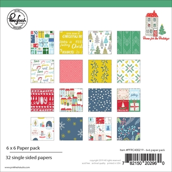 PinkFresh Studio HOME FOR THE HOLIDAYS 6 x 6 Paper Pack pfrc600219*