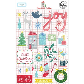 Pinkfresh Studio HOME FOR THE HOLIDAYS Puffy Stickers pfrc600319