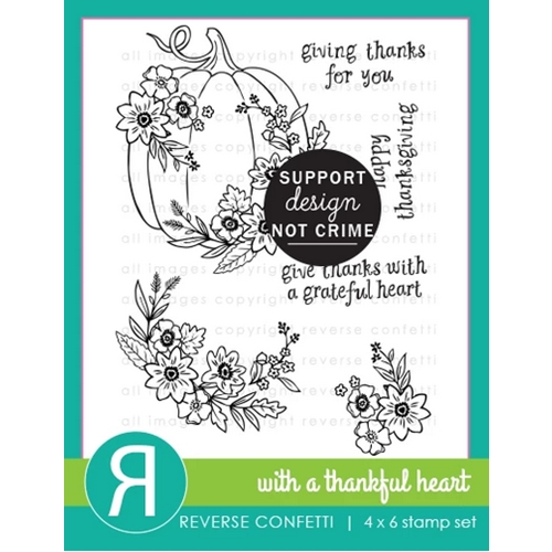 Reverse Confetti WITH A THANKFUL HEART Clear Stamps Preview Image