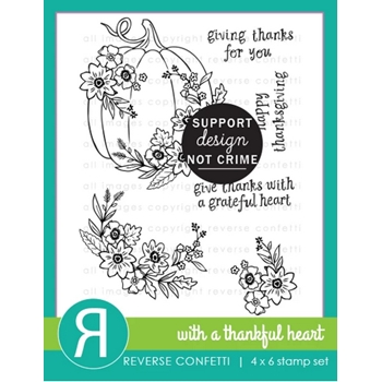Reverse Confetti WITH A THANKFUL HEART Clear Stamps