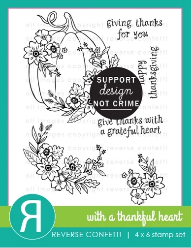 Reverse Confetti WITH A THANKFUL HEART Clear Stamps zoom image