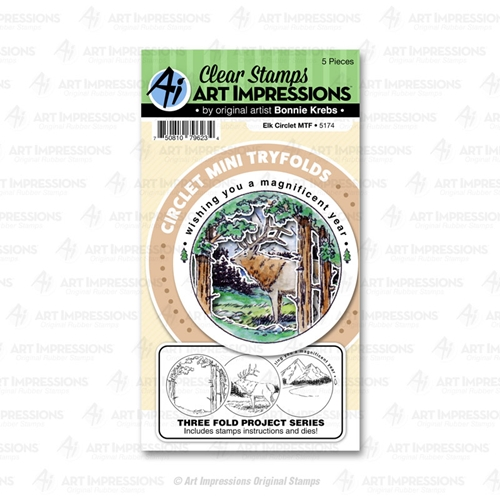 Art Impressions ELK Circlet Mini Tryfolds Stamp and Die Set 5174 Preview Image