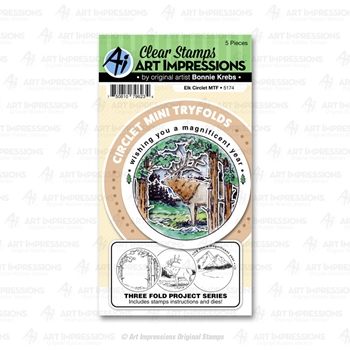 Art Impressions ELK Circlet Mini Tryfolds Stamp and Die Set 5174