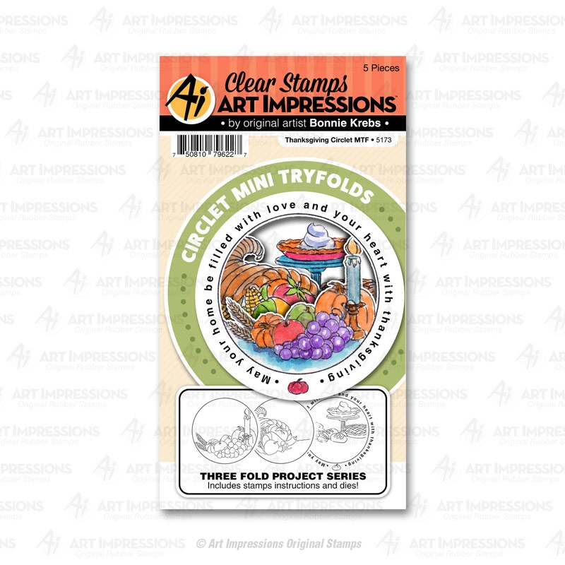 Art Impressions THANKSGIVING Circlet Mini Tryfolds Stamp and Die Set 5173 zoom image