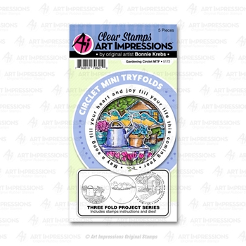 Art Impressions GARDENING Circlet Mini Tryfolds Stamp and Die Set 5172