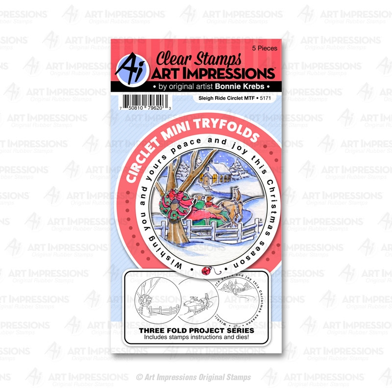 Art Impressions SLEIGH RIDE Mini Tryfolds Stamp and Die Set 5171 zoom image