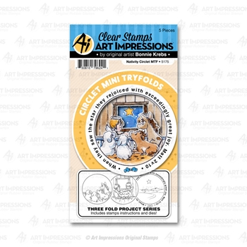 Art Impressions NATIVITY Circlet Mini Tryfolds Stamp and Die Set 5175