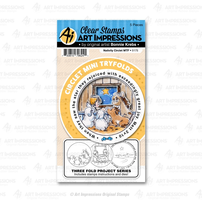 Art Impressions NATIVITY Circlet Mini Tryfolds Stamp and Die Set 5175 zoom image