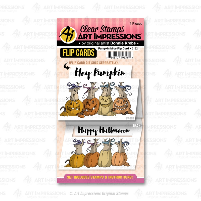 Art Impressions PUMPKIN MICE Flip Card Clear Stamps 5182 zoom image