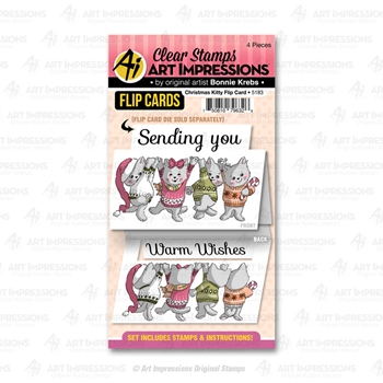 Art Impressions CHRISTMAS KITTY Flip Card Clear Stamps 5183