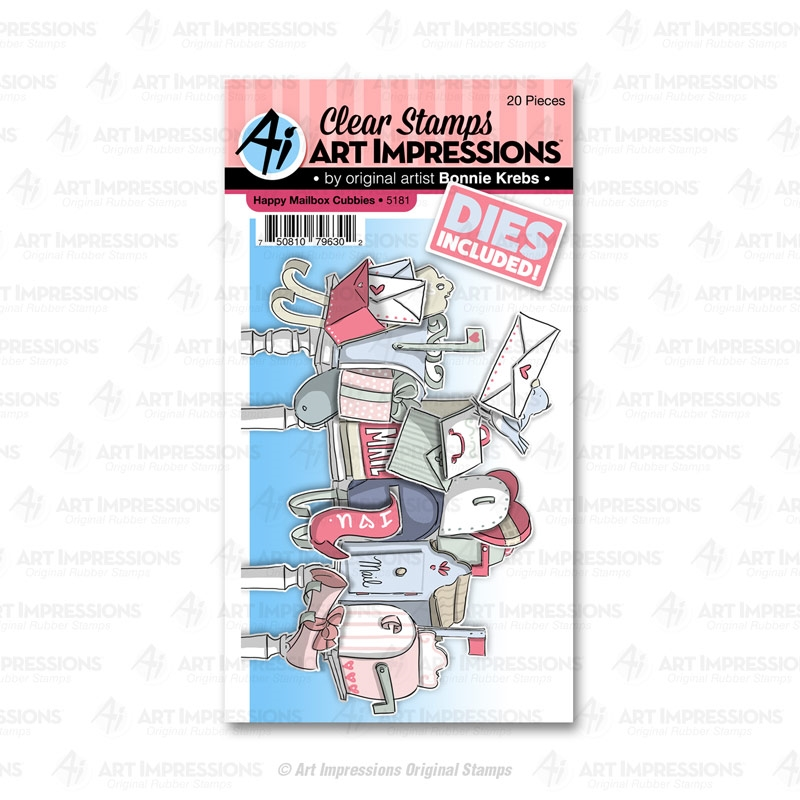 Art Impressions HAPPY MAILBOX Cubbies Clear Stamps and Dies 5181 zoom image