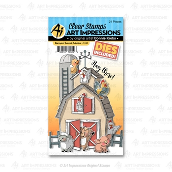 Art Impressions BARNYARD ANIMALS Cubbies Clear Stamps and Dies 5180