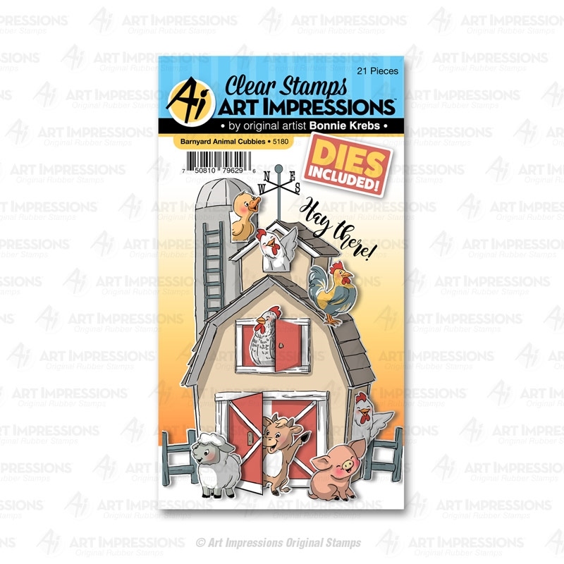 Art Impressions BARNYARD ANIMALS Cubbies Clear Stamps and Dies 5180 zoom image