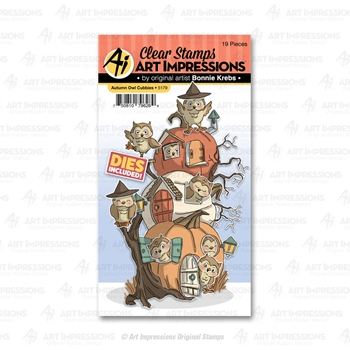 Art Impressions AUTUMN OWL Cubbies Clear Stamps and Dies 5179