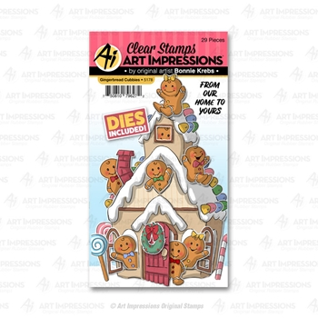 Art Impressions GINGERBREAD Cubbies Clear Stamps and Dies 5178
