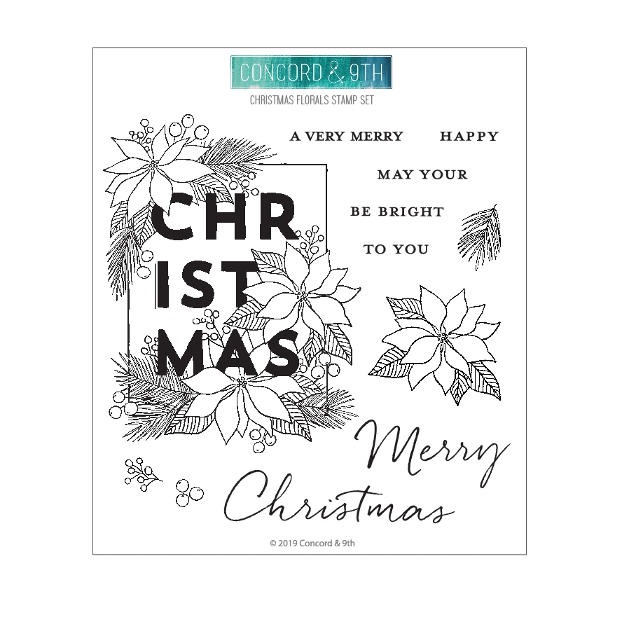 Concord & 9th CHRISTMAS FLORALS Clear Stamp Set 10682 zoom image