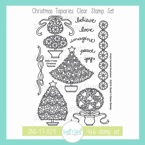 Sweet 'N Sassy CHRISTMAS TOPIARIES Clear Stamp Set kh-sns-17-029 Preview Image