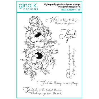 Gina K Designs MAJESTIC PEONY Clear Stamps 0732