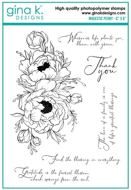 Gina K Designs MAJESTIC PEONY Clear Stamps 0732 zoom image