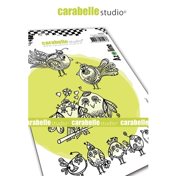 Carabelle Studio FUNNY BIRDS Cling Stamps sa60462