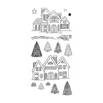 Impression Obsession Clear Stamps WINTER VILLAGE WP987