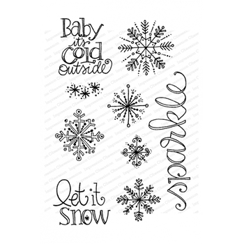 Impression Obsession Clear Stamps SNOWFLAKE SPARKLE CL972