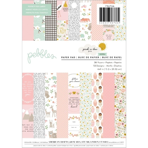 Pebbles Inc. GIRL Peek a Boo You 6x8 Inch Paper Pad 736766 Preview Image