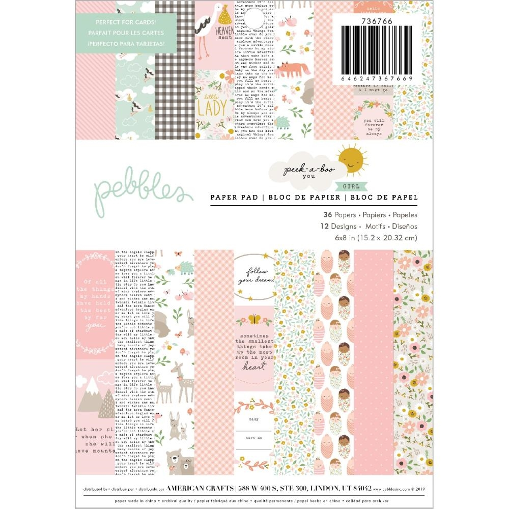 Pebbles Inc. GIRL Peek a Boo You 6x8 Inch Paper Pad 736766 zoom image