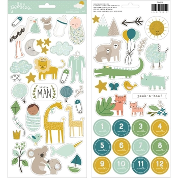 Pebbles Inc. BOY ACCENT STICKERS Peek a Boo You 734210