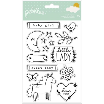 Pebbles Inc. GIRL CLEAR STAMPS Peek a Boo You 736763*