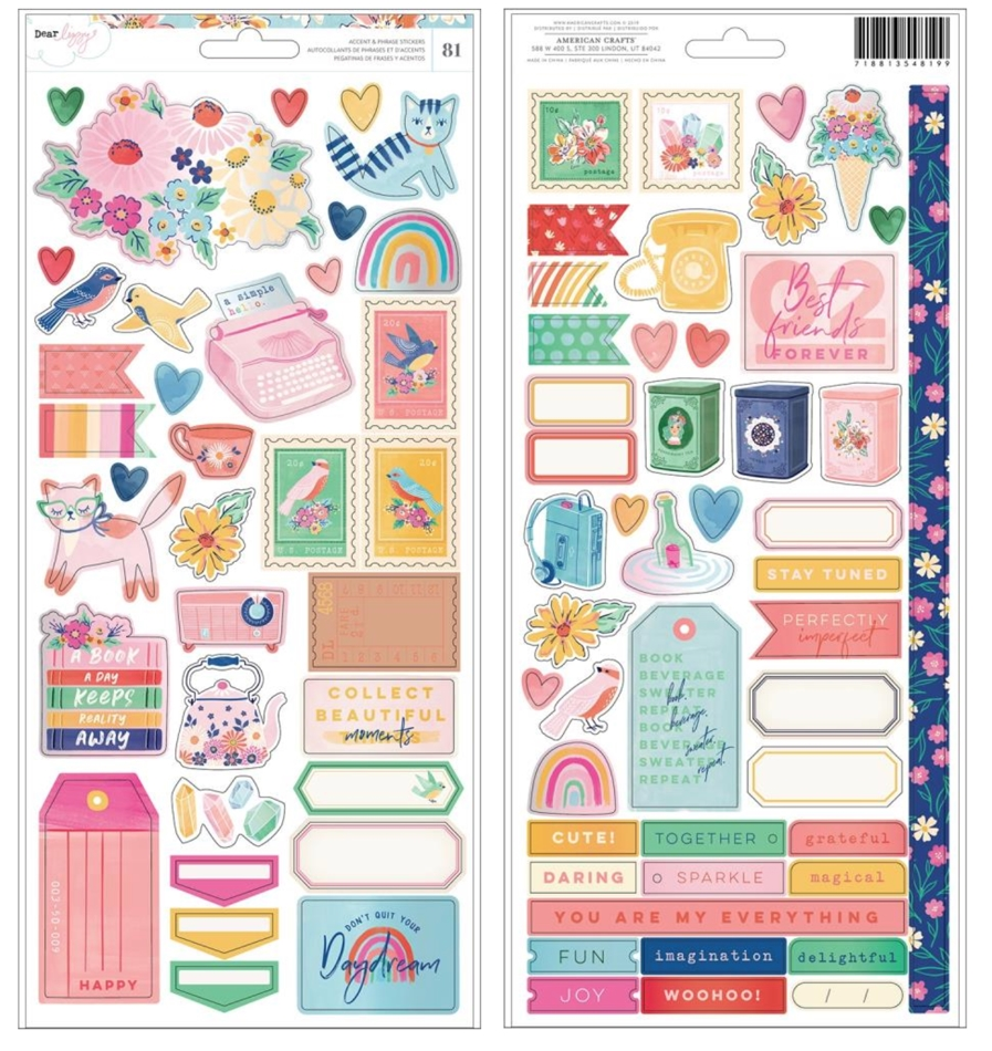 American Crafts Dear Lizzy CARDSTOCK STICKERS She's Magic 354819 zoom image